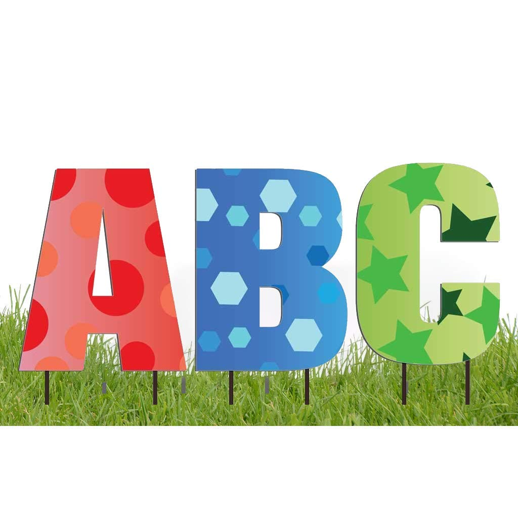 VictoryStore Yard Letters: Cut-Out Alphabet Yard Decoration 20 inch High, Includes Stakes (Confetti)