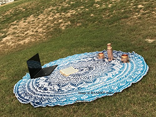 Round Mandala Beach Towel Tapestry Blue/ Circle Beach Throw Blanket /Indian Cotton Large Tapestry Hippie/Mandala Table Cloth Christmas gift/Bohemian Yoga Mat Rugs Meditation Tapestries 70 inch by raajsee