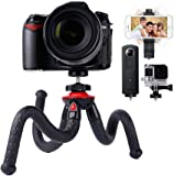 Travel Tripod, Lammcou Flexible Camera Phone Tripod 4 in 1 Octopus Gorillapod Tripods Stand Mount with Smartphone Tripod Adapter Clamp for Canon Nikon Sony DSLR Cam + Gopro Action Cameras + Galaxy Huawei Xiaomi + Olympus Binocular Stand Holder Sturdy Tripod