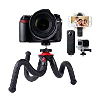 Travel Tripod, Lammcou Flexible Camera Phone Tripod 4 in 1 Octopus Gorillapod Tripods Stand Mount with Smartphone Tripod Adapter Clamp for Canon Nikon Sony DSLR Cam + Gopro AKASO Action Cameras + Galaxy Huawei Xiaomi + Olympus Binocular Stand Holder Sturdy Tripod