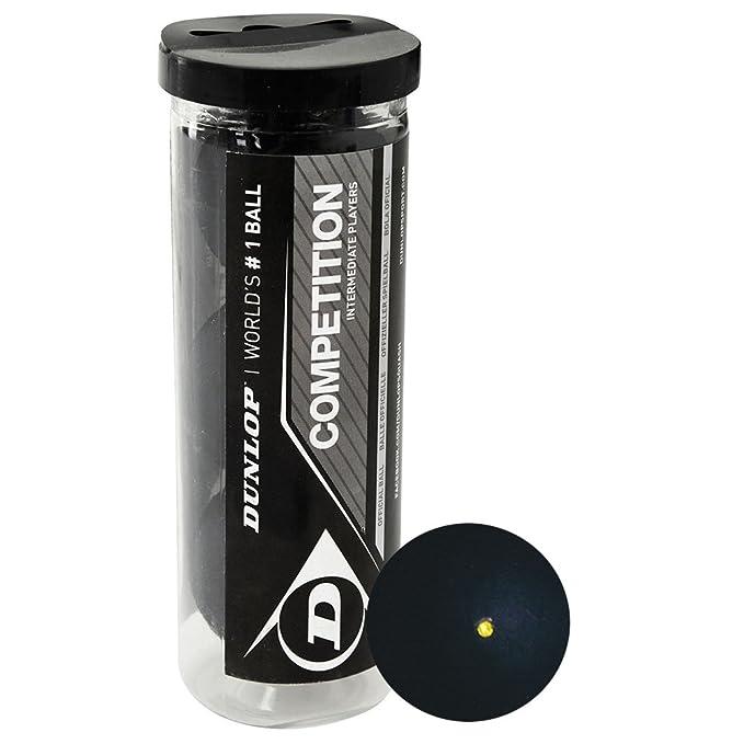Dunlop - Pelotas de squash (3 unidades), diseño con punto amarillo ...