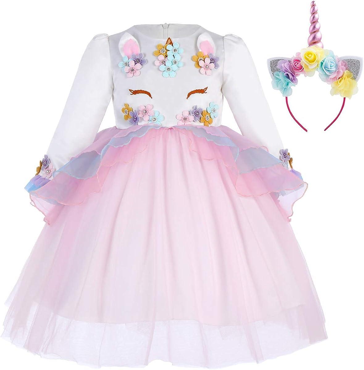 IWEMEK Princesa Bebé Niña Vestido Unicornio Cumpleaños Disfraz de Cosplay para Fiesta Carnaval Navidad Bautizo Comunión Boda 1-13 Años