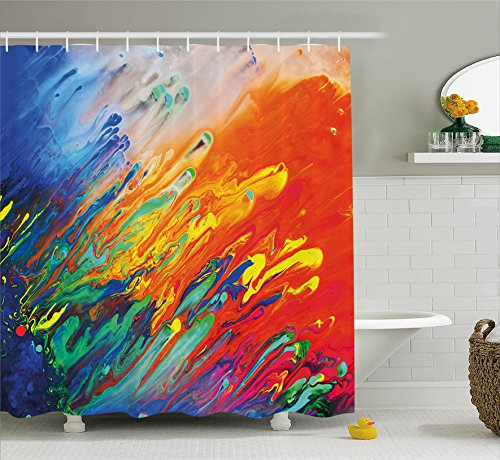 Ambesonne Modern Art Home Decor Shower Curtain by, Active Brushstroked Composition Like Seminal Fluid Motion New Artwork, Fabric Bathroom Decor Set with Hooks, 70 Inches, Multi