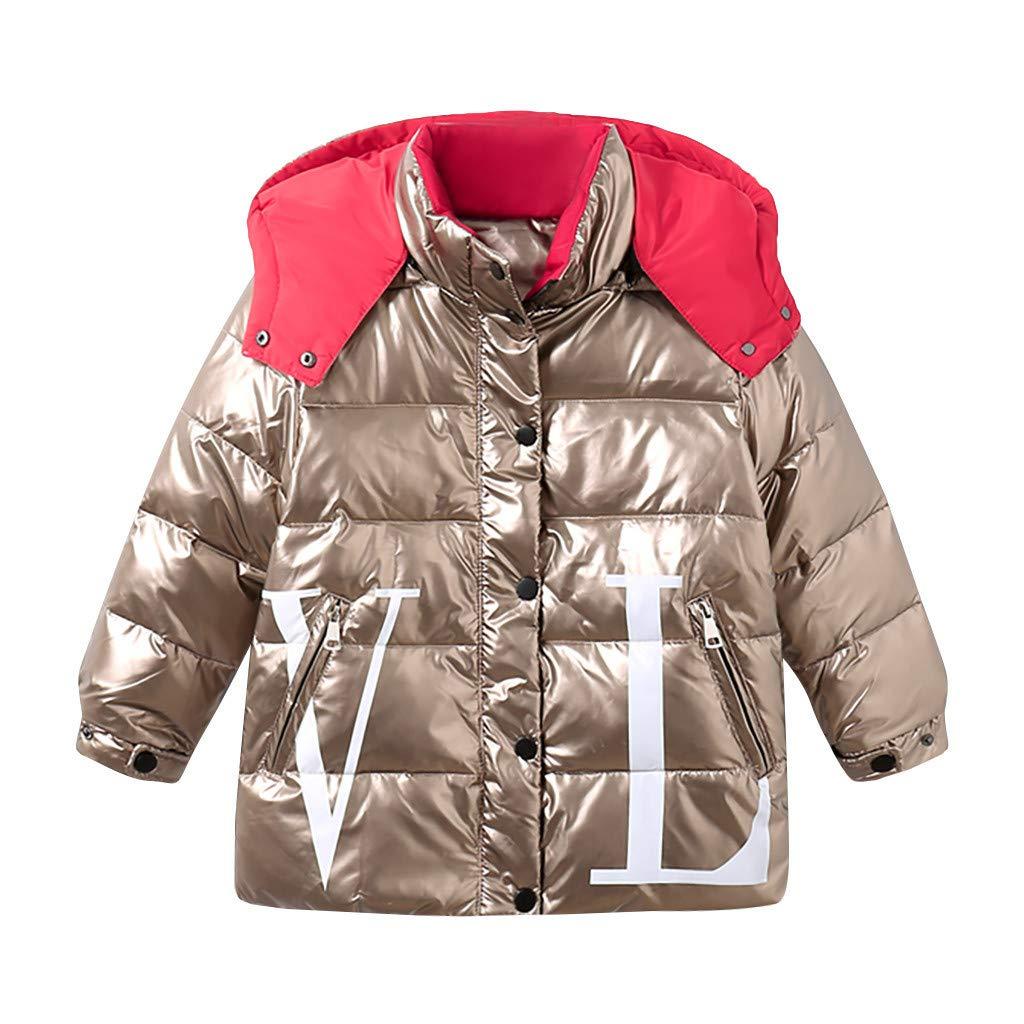 BFYOU Kids Girls Boys Winter Hooded Letter Waterproof Coat Jacket Overcoat Outwear Gold by BFYOU_ Girl Clothing
