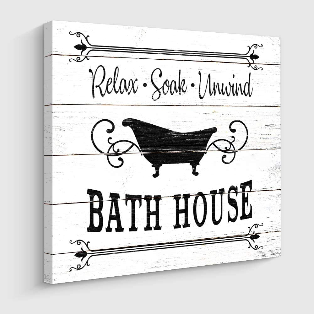 "Bathroom Rules Sign Vintage Canvas Prints Bath House Signs Wall Art Decor Rustic Laundry Room Decor for Bathroom (12"" x 16"", Bath House)"
