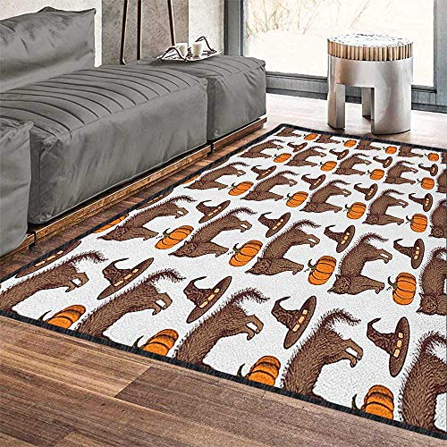 """Halloween Silky Smooth Bedroom Mats,Seasonal Vintage Pattern with Pumpkin Squash Witch Hats and Cat Figures Machine Washable Brown Orange Green 79""""x118"""""""