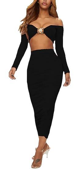 Mujer Faldas+Crop Top 2 Piezas Elegantes Verano Manga Larga Ropa Dama Moderno Sin Tirantes