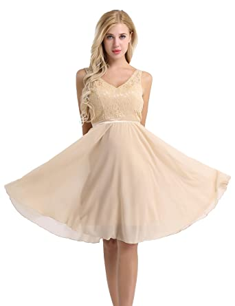 Freebily Women Floral Lace Bridesmaid Party Dress Short Prom Dress V Neck Champagne UK Size 8