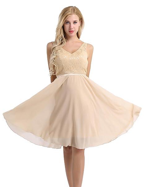 e26042f737 YiZYiF Women's Lace Chiffon A-Line Prom Formal Wedding Bridesmaid Short  Mini Dress Champagne 4