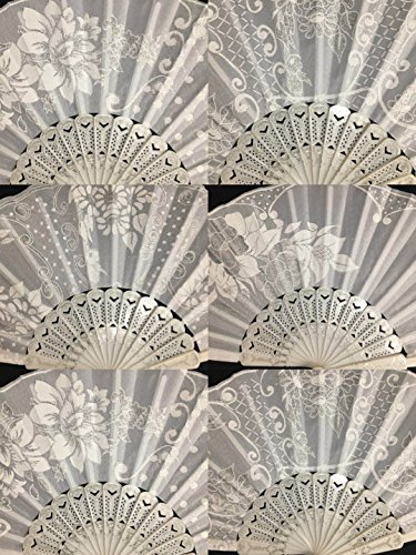12 Pc/Assorted Spanish Style White and Silver Glitter Hand Fan for Outdoor Event with Organza Gift Bag/Table Setting/Wall Decoration/