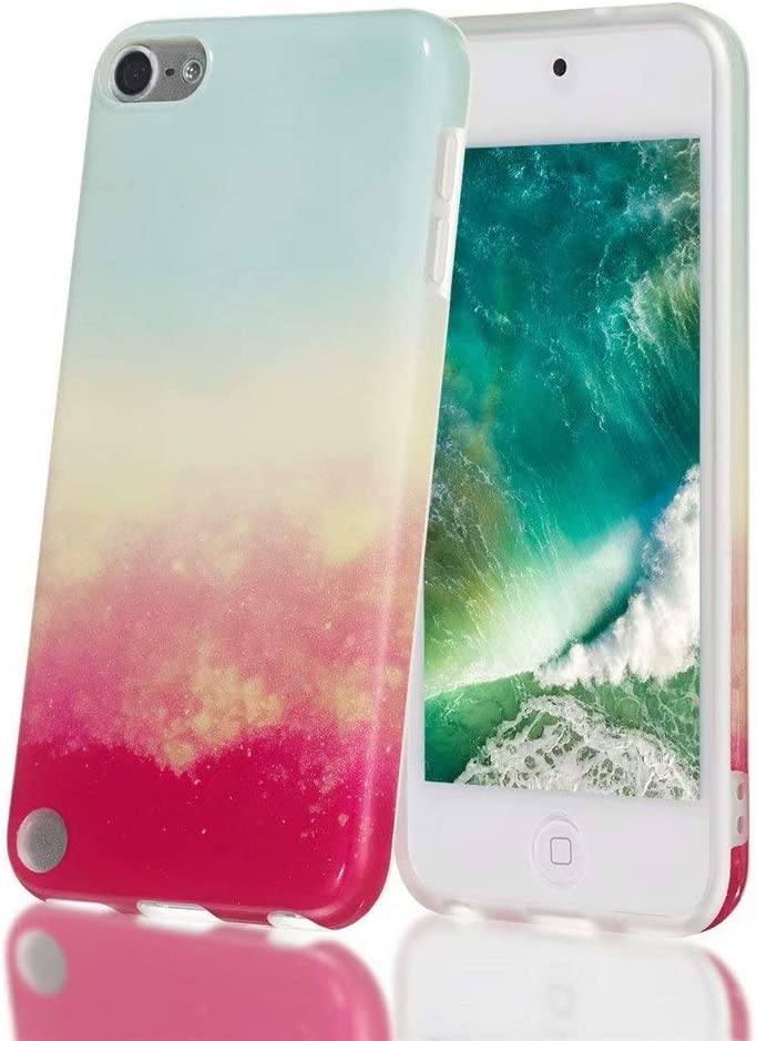18th Generation Marble Serise 6th Slim Fit Anti-Scratch Flexible Soft TPU Bumper Shockproof Protective Case for iPod Touch 5 FlipBird iPod 6 Marble Case