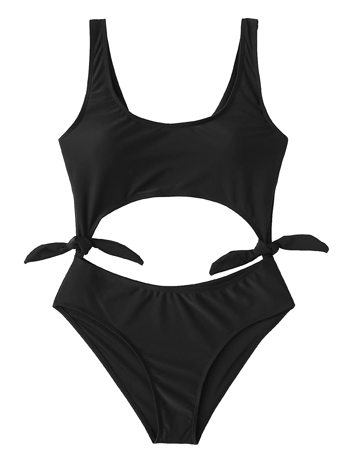 e925576aaf10 Features: Plain pattern,tie sides and cut out one piece swimsuit with  padding bra. Before Order:Please select your size based on the measurements  as below.