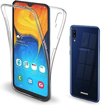Moozy Funda 360 Grados para Samsung A20, A30 Transparente Silicona ...