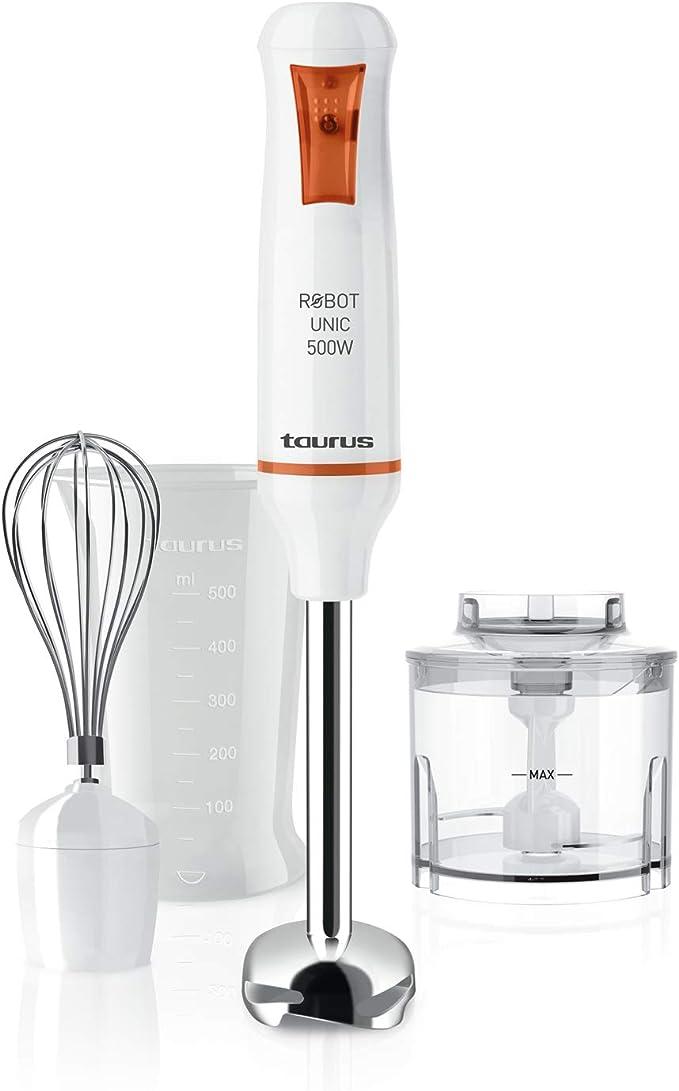 Taurus UNIC500PLUSINOX Batidora, 500 W, 0 Decibelios, Plástico, Blanco/Naranja [Clase de eficiencia energética A+]
