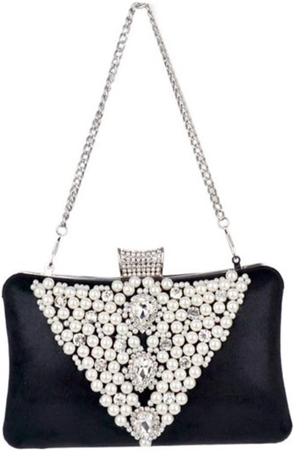 Damen Clutches Damenmode Abend Clutch Handtasche Hochzeit Handtaschen Party Clutch Bag für Frauen Hochzeit Date Party (Color : Gold) Black