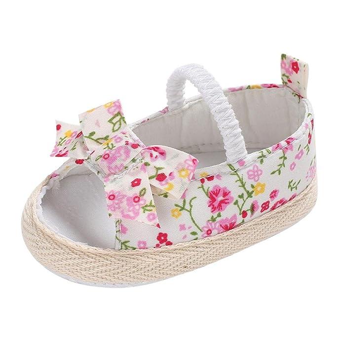 Amazon.com: Lanhui Infant bebé niña sandalias Floral Cuna ...
