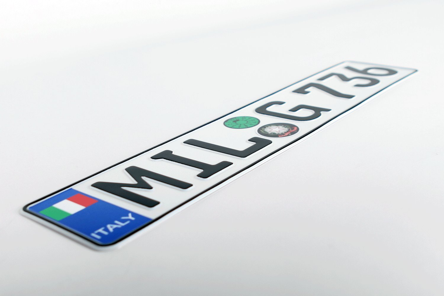 Random Characters Italy Flag Euro Style Plate with Registration Seals