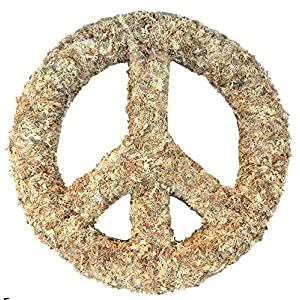 "18"" Peace Sign Living Wreath Sphagnum Moss Form Complete 4"