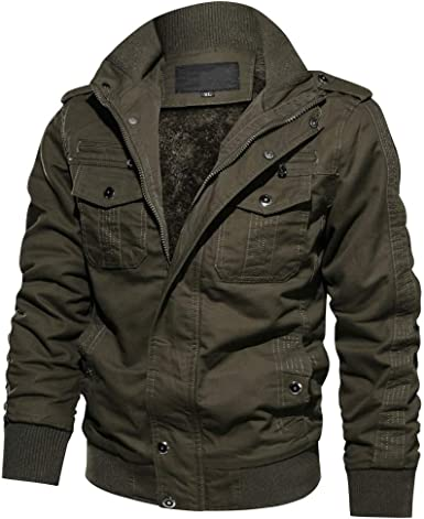 Mens Winter Thicken Multi-Pocket Outwear Jacket Military Cargo Coat with Removable Hood