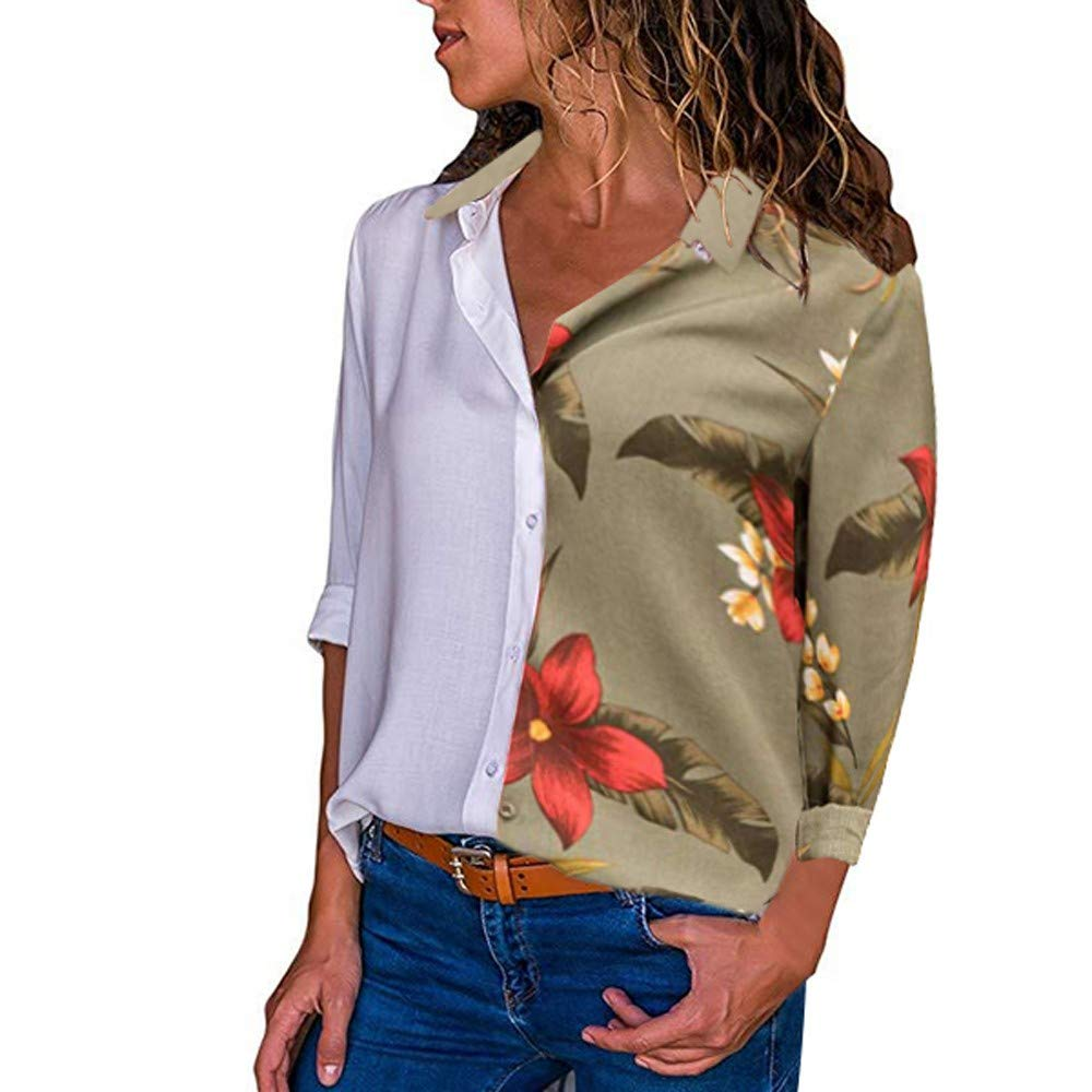 KaiCran Womens Loose Blouse Long Sleeve V Neck Button Down Floral T Shirts Tie Front Knot Casual Tops (Army Green, L)