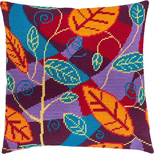 Foliage. Cross Stitch Kit. Throw Pillow Case 16×16 Inches. Home Decor, DIY Embroidery Needlepoint Cushion Cover Front, Printed Tapestry Canvas, European Quality. Leaves
