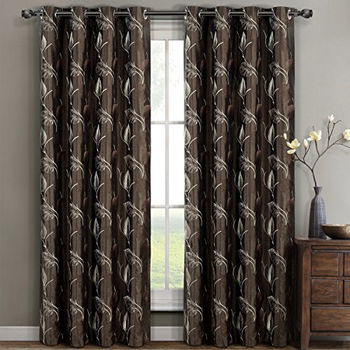 Olivia Chocolate Grommet Embroidered Lined Window Curtains Drapes, Pair/Set of 2 Panels, 52x84 inches Each