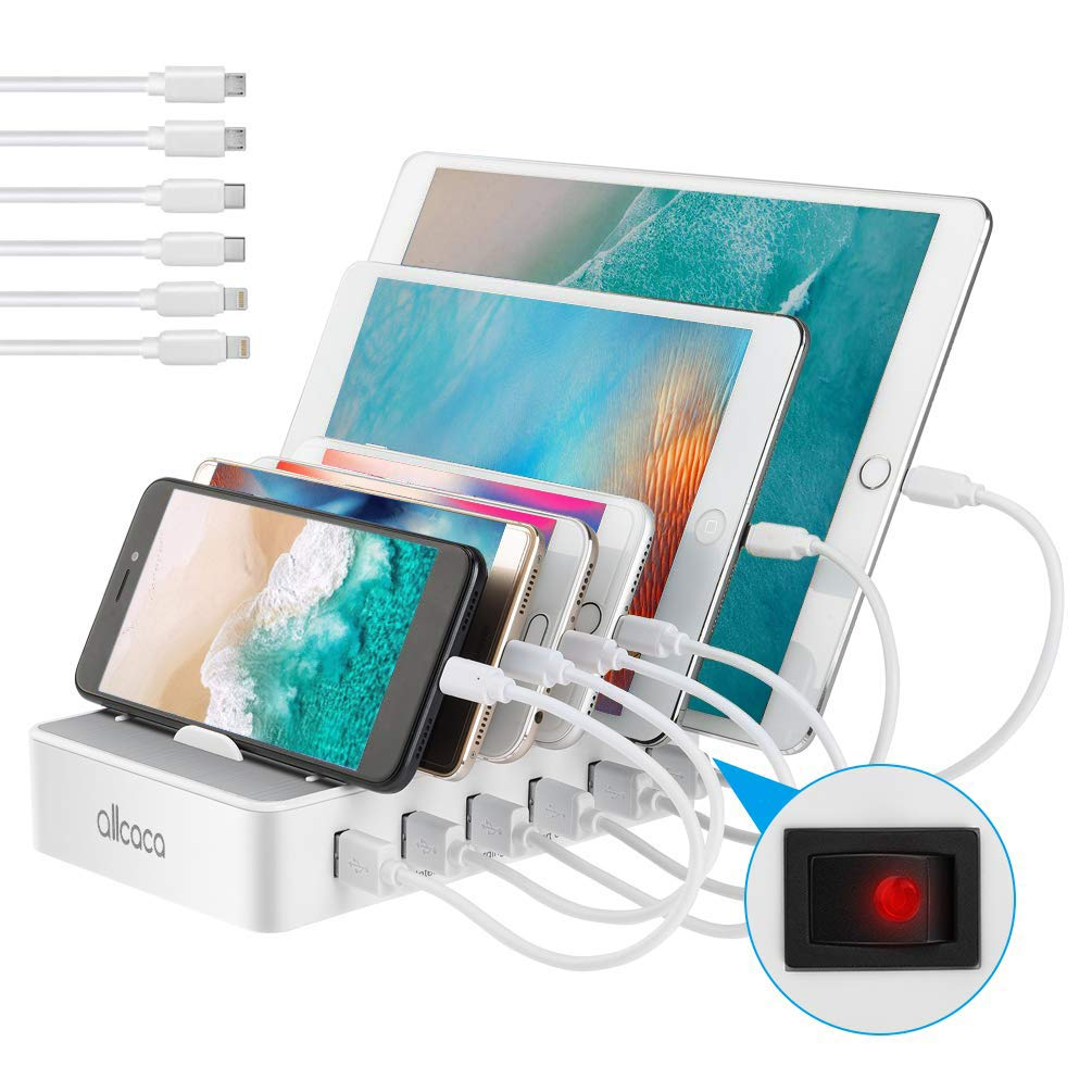 ALLCACA USB Charging Station for Multiple Devices - Fast Charging Organizer with 6 USB Ports Dock Cell Phone Charger for Apple, Samsung, Android Phone, iPhone, ipad, Tablets by allcaca