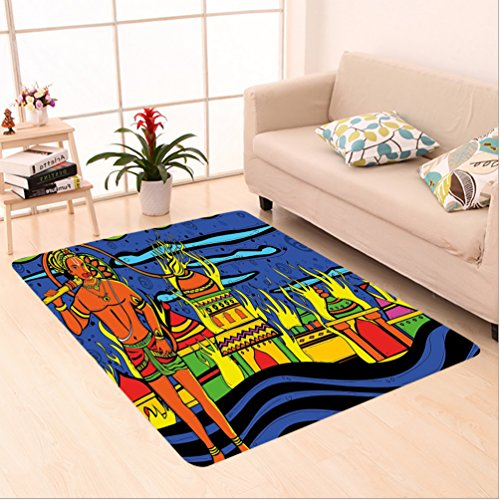 Nalahome Custom carpet hedelic Indian Spiritual Faith Prince Eastern Tribal Ancient Oriental Bohemian Image Orange Blue area rugs for Living Dining Room Bedroom Hallway Office Carpet (6.5' X 10') by Nalahome