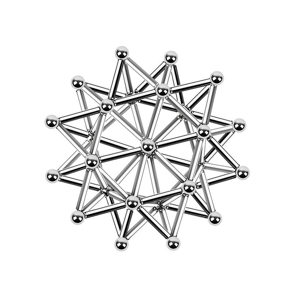 BOLLAER Buck Ball, 160 Silver Ball 150 Squares Magnets DIY Toys Magnetic Fidget Blocks Building Blocks for Development Learning and Stress Relief Magnet Office Desk Toys for Adults by BOLLAER