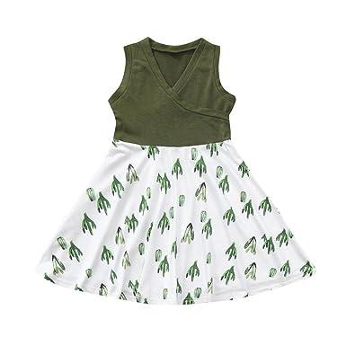 6b80b48f425b Amazon.com  KONFA Teen Toddler Baby Girls Cactus Print Sundress ...