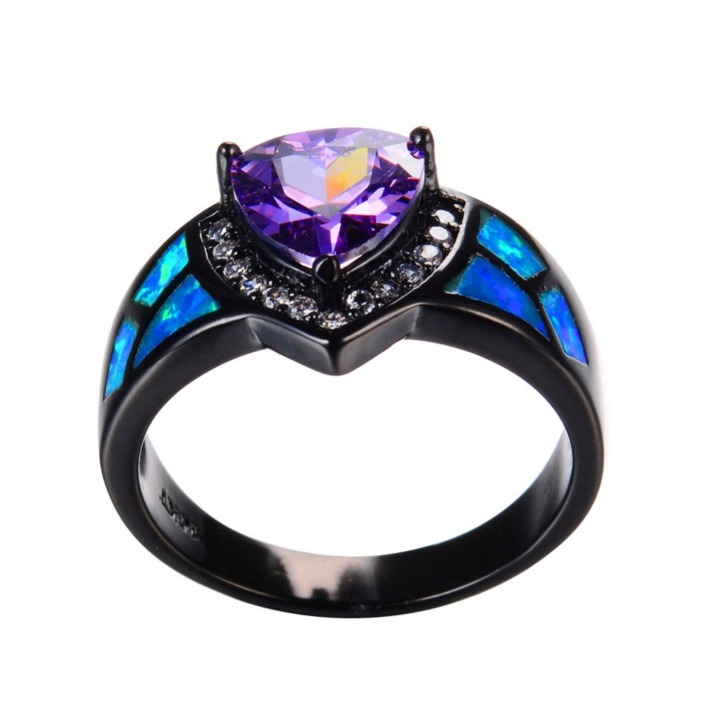 T/&T Jewelry Purple Amethyst Triangle White Opal Rings Vintage Black Gold Wedding Party Rings For Women