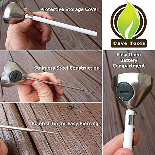 Wood Smoking Magnet + Digital Meat Thermometer - FASTEST INSTANT READ PROBE - Best Cooking BBQ Candy Chocolate Liquid Baking Grilling Food in Kitchen - Use on Barbecue Grill for Accurate Temperature by Cave Tools (Image #2)