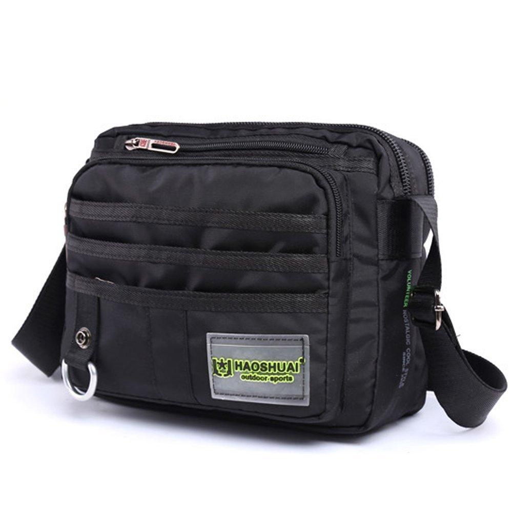 JAKAGO Waterproof Messenger Bag Casual Shoulder Bag Daypack Satchel Bag Crossbody Bag Multi Pockets for Work, Flight Trip, Sports, School, Daily Use, fits for Ipad mini (Black) JKG-HS7705-UK-B