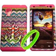 Cellphone Trendz High Impact Hybrid Rocker Case for LG Optimus G LS970 (SPRINT Only) – Pink Silicone with Hard Multi Color Anchor Chevron Tribal Aztec Design