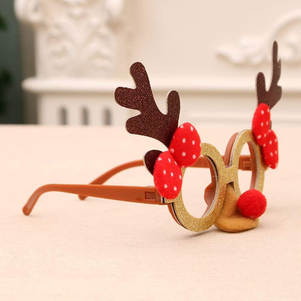 Gafas De Navidad, Chshe, Astas De Dibujos Animados Creativos Gafas De Papá Noel para NiñOs Gafas De Montura Gafas De Fiesta para NiñOs Juguete(E)