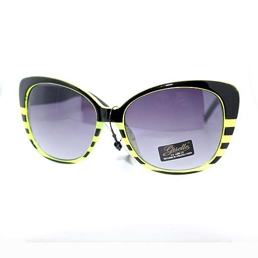 9236b0f9f0d Giselle Womens Bat Eye Style Stripe Pattern Large Cat Butterfly Sunglasses  Green