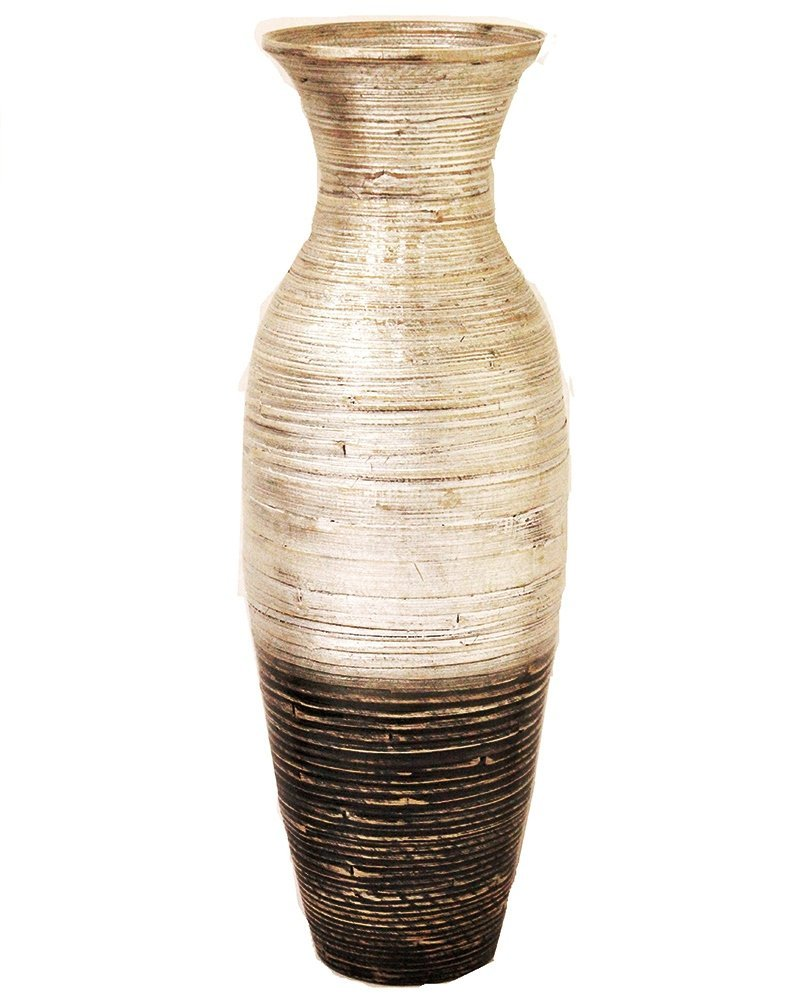 Heather Ann Creations W33900-SWD Spun Bamboo Decorative Floor or Table Accent Vase with Clear Finish, Silver/Black, 29.5 Tall 29.5 Tall