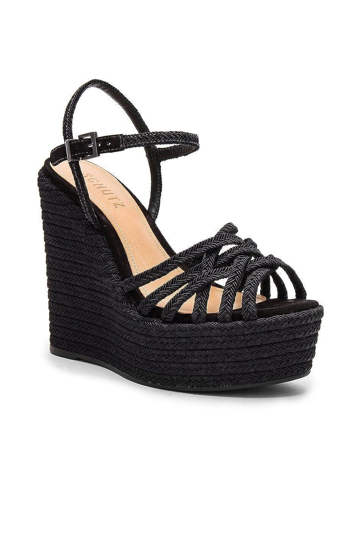 4fef93b3bf493 Amazon.com: SCHUTZ Leandrea Black Ankle Strap Woven Platform Wedge ...