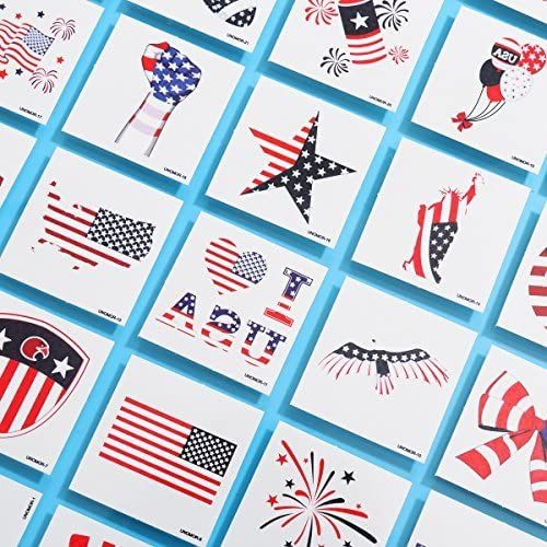 American Patriotic Tattoos Veterans Day USA Flag Forearm Tattoo for Independence Day Party Supplies, 180PCS