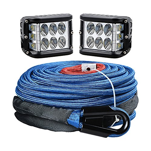 Work Winch (Astra Depot 95ft 3/8 inch BLUE Synthetic Winch Rope 20500LBs Rock Heat Guard + 90W CREE LED Side Shooter Cube Spot Offroad Work Driving Light for Jeep Truck UTV ATV SUV)