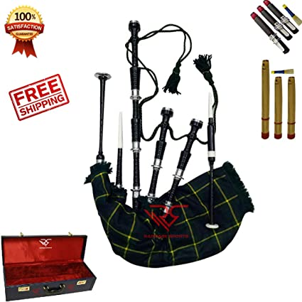 Highland Bagpipe Red Immation Mounts Full Set//Scottish Bagpipes Reed Hard Case