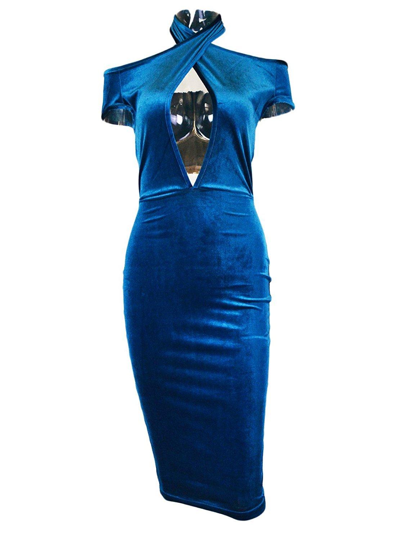 Women\'s Sexy Halter Off Shoulder Velvet Midi Club Bodycon Dress Dark Blue L
