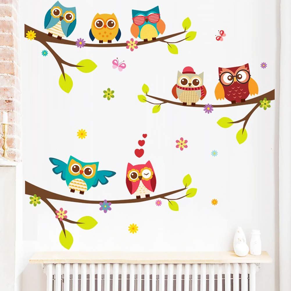 Unicoco Owl on The Tree Wall Sticker 2Pcs Creative Wall Decal Living Kids Room Removable Owl Branch Wall Paper