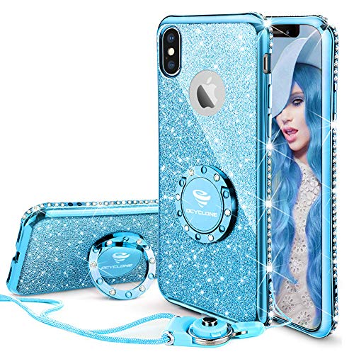 OCYCLONE iPhone X Case for Girl Women, Glitter Cute Girly Diamond Rhinestone Bumper with Ring Kickstand Protective Phone Case for iPhone X - Blue