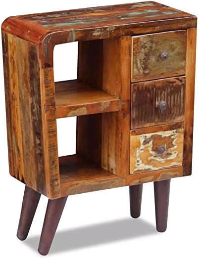 vidaXL Solid Reclaimed Wood Sideboard Side Bedside Table Nightstand 3 Drawers