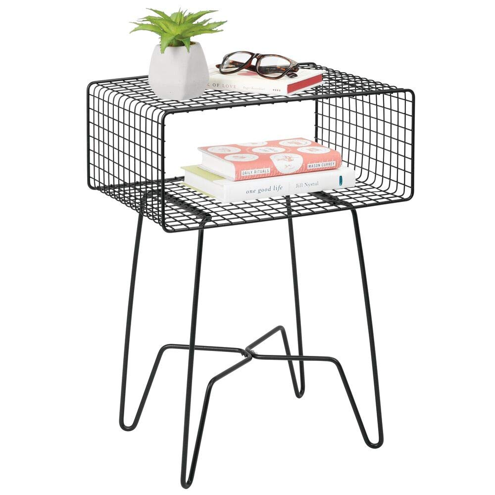 mDesign Modern Farmhouse Side/End Table - Metal Grid Design - Open Storage Shelf Basket, Hairpin Legs - Sturdy Vintage, Rustic, Industrial Home Decor Accent Furniture for Living Room, Bedroom - Black