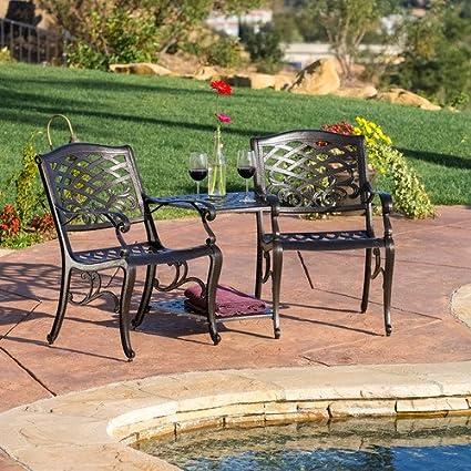 Home Loft Concept Griffen 3 Piece Chairs U0026 Table Patio Furniture Dining Set,  ...