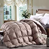 King Size Duvet Insert Goose Down khaki Comforter -Hypoallergenic,Box Stitched,Protects Against Dust Mites and Allergens(Khaki,King)