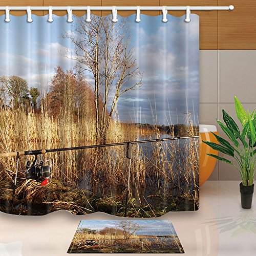 Marsh Flannel Fabric (NYMB Fishing Shower Curtains, Fishing Rod Wetland Read Marshes, 69X70in Mildew Resistant Polyester Fabric Shower Curtain Set With 15.7x23.6in Flannel Non-Slip Floor Doormat Bath Rugs)