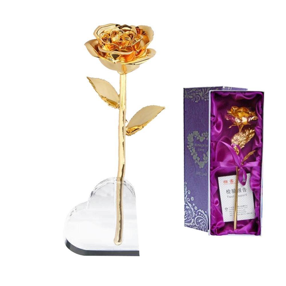 ゴールドメッキローズゴールドDipped Realローズフラワー誕生日バレンタインの日ギフト寝室オーナメントの装飾ガールフレンド B079CBX5JR